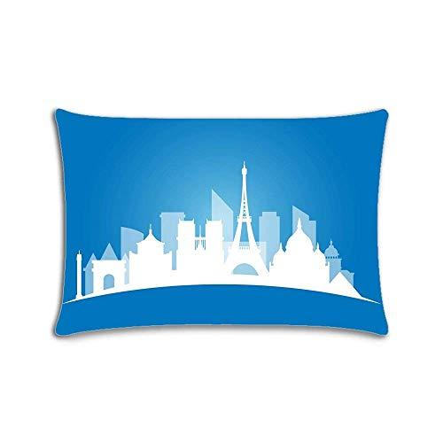 Funda de almohada personalizada con cremallera, diseño de Skyline of Paris de 20 x 30 pulgadas, impresión a dos lados