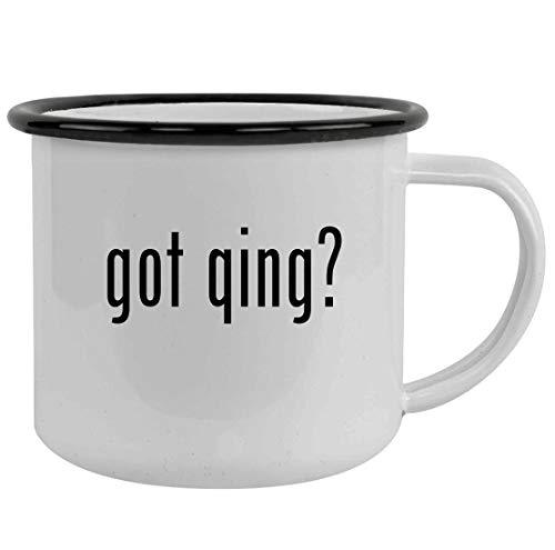 got qing? - Sturdy 12oz Stainless Steel Camping Mug, Black