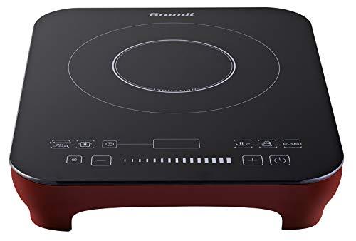 Brandt TI2010R - Table à Induction Posable - 1 foyer - 2000W - Double Zone de Chauffe - Minuterie de 3 Heures - Commande Slider - 10 Niveaux de Puissance - Rouge