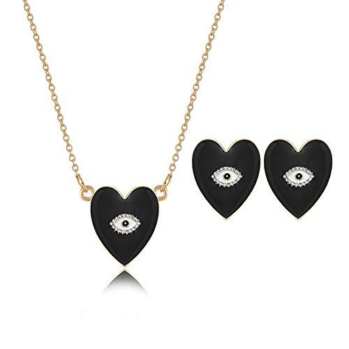 Conjuntos de pendientes de collar con colgante de corazón de ojo malvado de cristal de Bohemia para mujer conjuntos de joyería nupcial de fiesta con cadena de oro Vintage