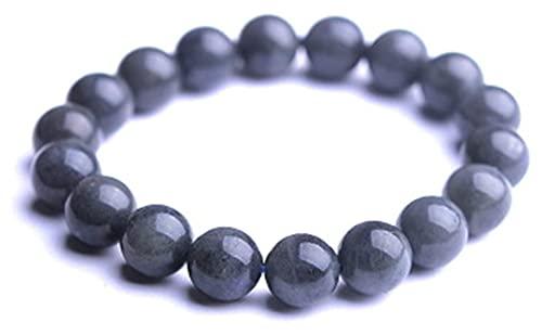AnimeFiG Piedra Preciosa Negra Natural de la luz de la Luna, Perlas Redondas, Pulsera elástica de Cristal, 12mm (Talla : 11mm)