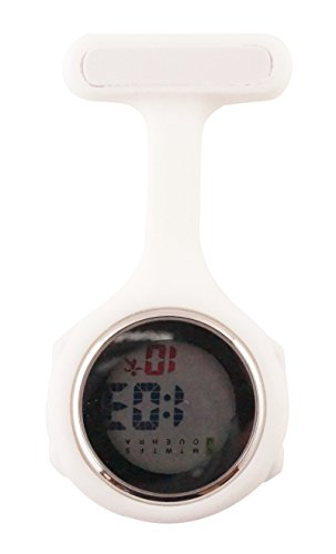 Ellemka - JCM-330 Reloj de Enfermera Digital para Profesionales de la Salud, Multifuncional, programable, con la Broche, CE, RoHS, su batería y Funda de Silicona, de Color Blanco.