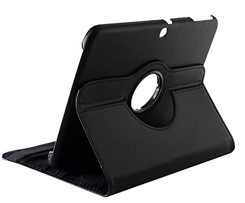 Funda compatible para Galaxy Tab 3 10.1 GT-P5210, 10 P5200 P5220, funda protectora de piel sintética con soporte giratorio 360, negro