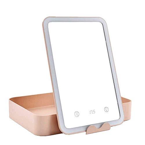 CAIMEI Espejo de Maquillaje Lámpara de Escritorio Led Tocador Espejo de Maquillaje Espejo de Princesa Plegable Espejo de Dormitorio Blanco