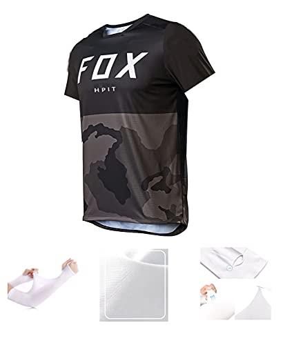 MTB Shirt Gepolstert,MTB Jersey Gepolstert,Herren Downhill Trikots Kurzarm MTB Fox Mountainbike Shirts Offroad Dh Motorrad Trikot Motocross Sportwear Fxr (X-Large, Bild 6)