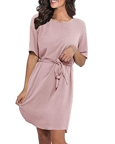 LilyCoco Sommerkleid Damen Knielang Sexy Tshirt Kleider für Damen Sommer Kleid Kurzarm mit Gürtel Rosa M