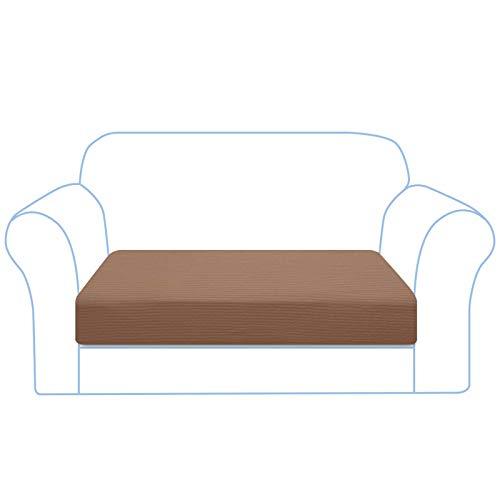 Granbest Copriseduta Divano Elasticizzato Fodera per Cuscino del Sedile Fodera per Cuscino Universale per Divano Coprisedile in Jacquard Spandex per Divano Lavabile(2 Posti,Cachi)
