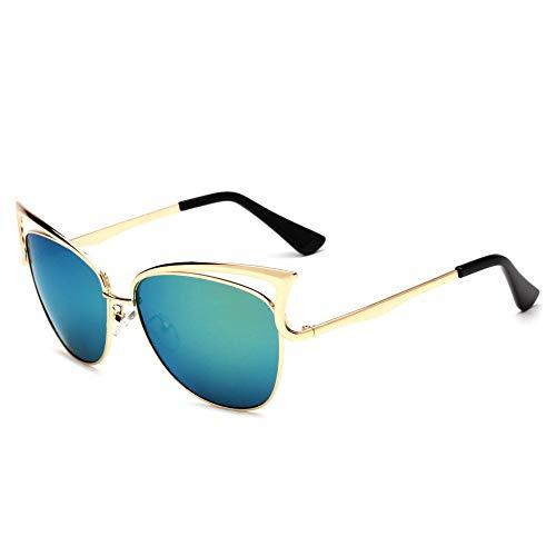 BVFRA Sonnenbrille,Mode Retro Polarisierte Pilot Katzenauge Grüne Linse Designer Neuheit Rahmen Uv400 Schutzbrillen Für Sportfahrer Angeln Mountainbiken Golfbrille