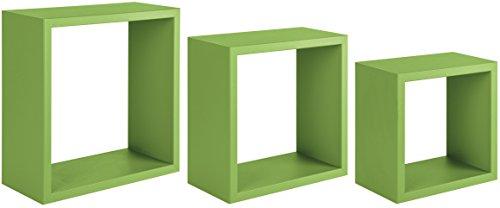 Sanitec Incubo Mensole da Parete, Legno, Verde, 15.5x35.0x35.0 cm, 3 unità