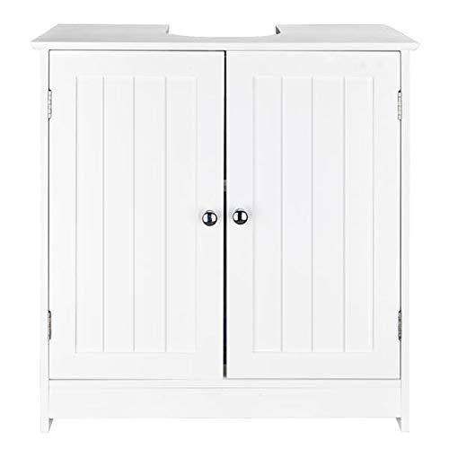 Sink Storage Vanity with 2 Doors, Standing Storage Cabinet Space Saver Organizer 23.6 x 11.4 x 23.6 (White)