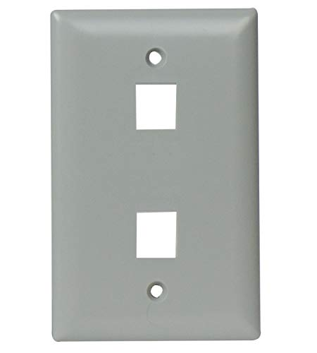 On-Q WP3402GY 2 Port Oversized Wall Plate, Gray