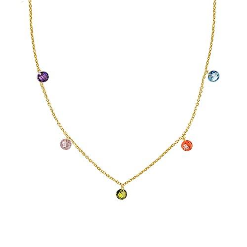 Gargantilla para Mujer con piedras de colores 40 cm | Collar Plata Chapada Oro | Colgante Mujer | Regalo para mamás | Regalo original Día de la Madre | Collar Aniversario Esposa y Novia