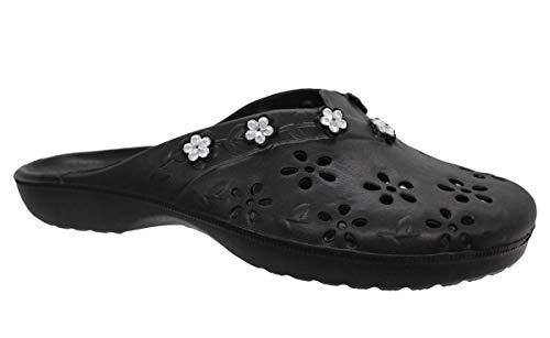 buyAzzo Zuecos para mujer, zapatillas de estar por casa para el tiempo libre, para sauna o jardín, varios modelos, tallas 36-41, color Negro, talla 40 EU