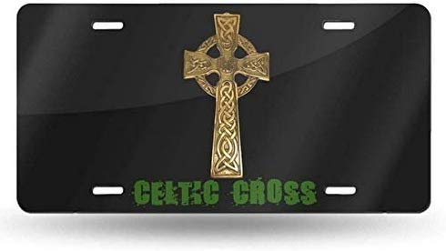 KEQU Celtic Cross License Plate Cover Decorative Front Car Tag Vanity Aluminum Car Plate License Plate Frame Covers 6x12 Inch