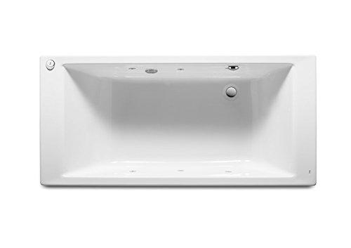 Roca – rechthoekige badkuip van acryl met whirlpool Tonic en afvoergarnituur – serie Vythos – wit