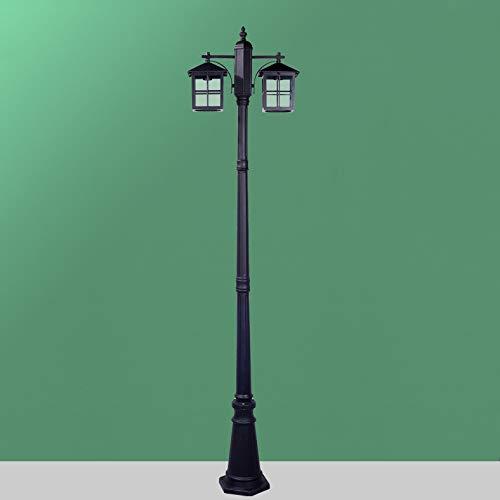 Gartenleuchter Kandelaber 2-flammig H250 CM in Schwarz aus Aluguss Quadratische Design mit Klar Glasschirm/Retro Vintage Sockelleuchte Außenleuchte/ E27, je max. 60 Watt, IP44