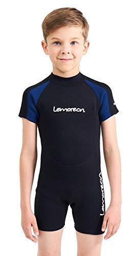 Lemorecn Wetsuits Youth Premium Neoprene 2mm Youth's Shorty Swim Suits(4021,US8)