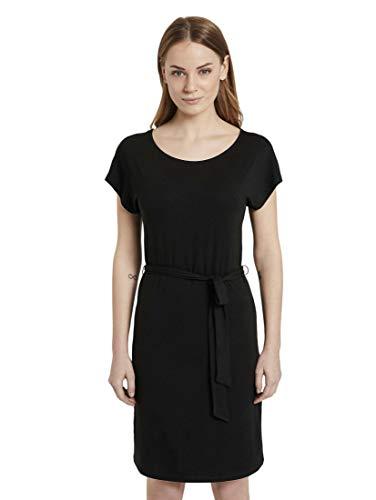 TOM TAILOR Damen Kleider & Jumpsuits Jerseykleid mit Bindegürtel Deep Black,40