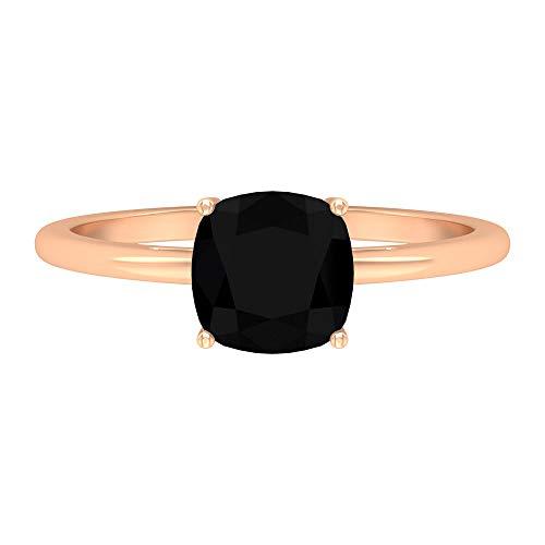 Rosec Jewels - Anillo solitario de 1,75 CT creado en laboratorio con diamante negro, 7 mm, corte cojín, anillo de compromiso negro, 14K Oro rosa, Size:EU 54