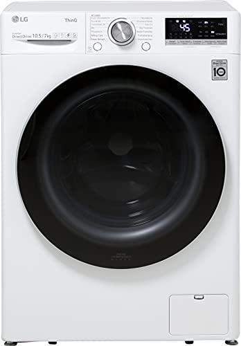LG V7WD107H2E Waschtrockner - 10.5 kg Waschen / 7 kg Trocknen - Inverter Motor, Dampf-Funktion, Weiß, 1400 U/Min