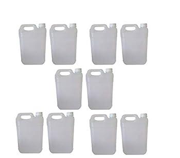 10 bidons de 5 l - Bidon en Plastique de 5 litres PEHD - idéal pour Tous Les liquides, Eau, Huile, Sauce, réservoir pour climatisation/Camping/Camping-Car (1)