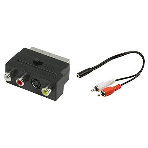 Valueline VLVP31902B – Adaptador conmutable SCART macho a 3 conectores RCA Phono...