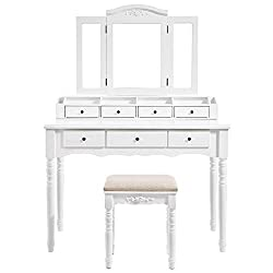 VASAGLE Vanity Set, Tri-Folding Necklace Hooked Mirror, 7 Drawers, 6 Organizers Makeup Dressing Table