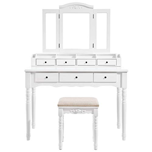 White Makeup Table Set with Folding Mirror and Stool