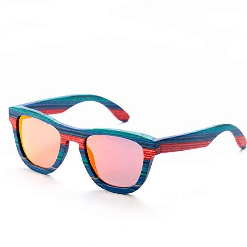 UKKD Gafas de sol de madera de color azul retro polarizadas mujeres hombres gafas de sol playa anti-UV gafas para conducir
