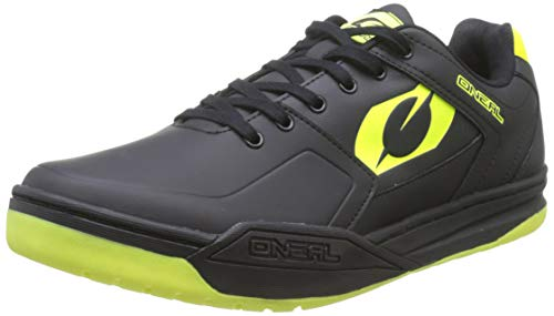 O'Neal | Cycling-Shoe | Mountain Bike MTB DH FR Downhill Freeride | SPD Pedal Plate Compatible, Durable and Light PU, Breathable | Pinned SPD Shoe | Adult | Black Neon-Yellow | Size 40