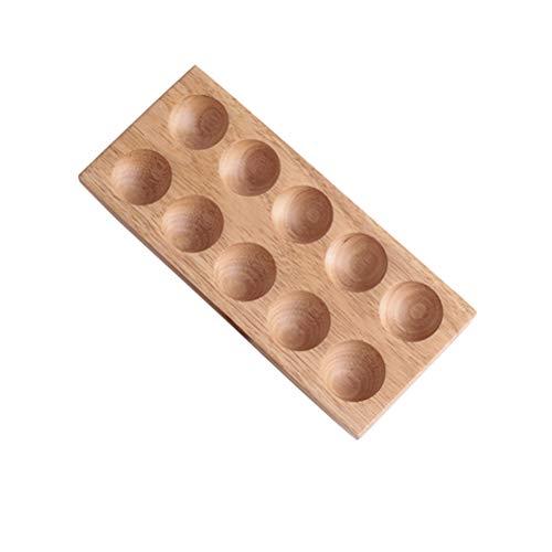 BESTONZON Natürlich Hölzern Eierhalter Rack,10 Eier Aufbewahrungsbox Kühlschrank Ei Halter Container Eierablage