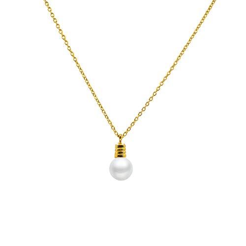 Secret & You Collar de Perla Cultivada Redonda de 7,5 a 8 mm de Agua Dulce - Cadena y Colgante de Plata de Ley de 925 milésimas Bañada en Rodio o en Oro de 18k 40 o 45 cm de Largo.