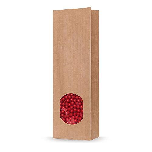 1-PACK Blockbodenbeutel Kraftpapier braun mit Sichtfenster 70 + 40 x 205mm, 100 Stück