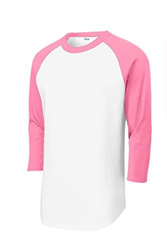 Animal Den Mens Baseball Jersey T Shirts 3/4 Sleeve Raglan 100% Cotton WH/PNK-M White/Pink