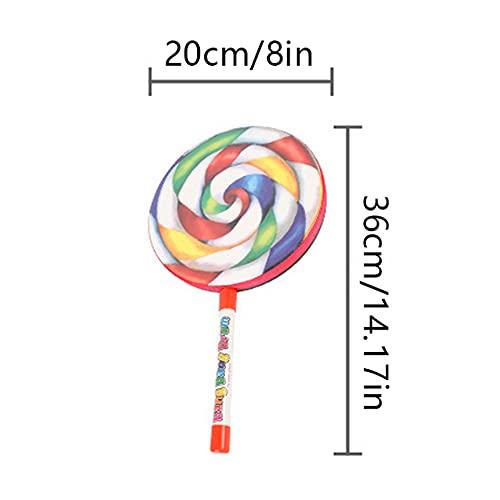 HoveeLuty Lollipop Drum con Mallet Rainbow Hand Drum Drum Stick Juguete Set Percussion Instrument Toy para Niños 20cm