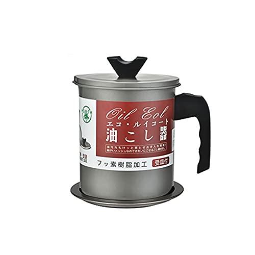 Filtro de grasa 1.4l Contenedor de vinagre de aceite de oliva Contenedor de vinagre de acero inoxidable Tapa de filtro extraíble Almacenamiento de aceite de freír grasa (gris)