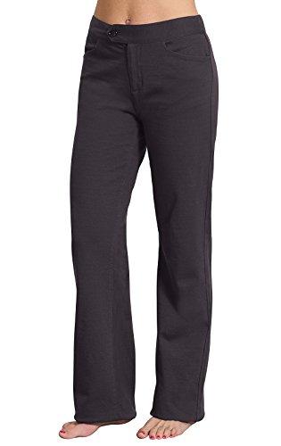 PajamaJeans Womens Dark Gray Slax Dress Pants, Charcoal,Small (4-6)