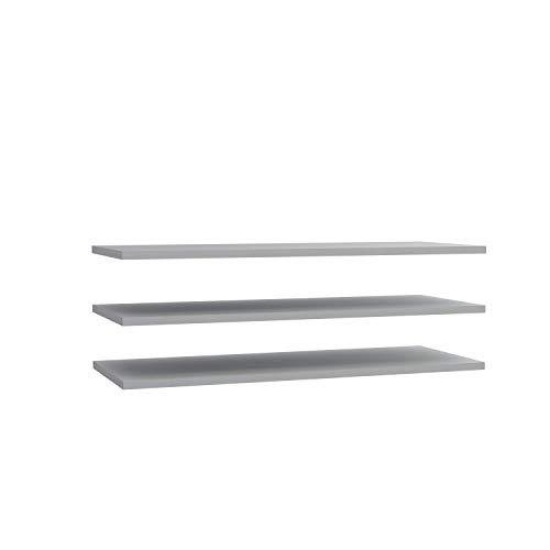 Newface set van 3 planken breed passend bij de kledingkast, grijs, één maat