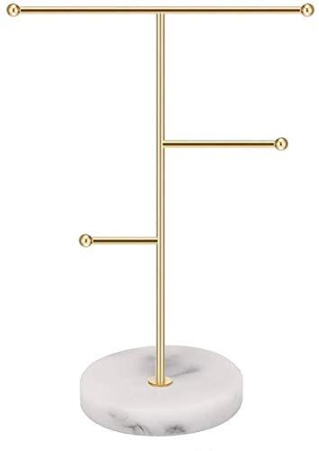 Organizador de joyas, collar de barra en T de metal, soporte para pendientes, soporte para colgar en el hogar, soporte colgante con patrón de mármol, bandeja redonda para pulseras, anillos, relojes