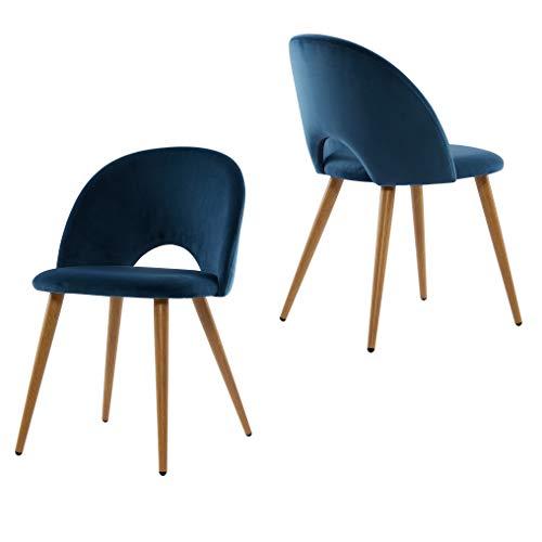 Lot de 2 Chaise de Salle à Manger Scandinave,Matière Velours Confortable ,Chaise de Bureau,Peut être utilisé comme Chaise de Salon et Chaise de Chambre (Bleu)