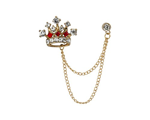 Knighthood Crown Chain Lapel Pin Badge Coat Suit Wedding Gift Party Shirt Collar Accessories Brooch for Men (Gold-RED)