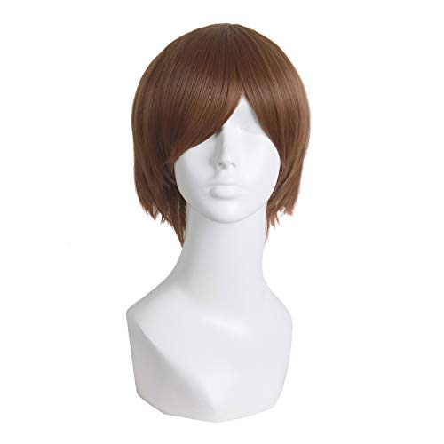 MapofBeauty Men's Short Straight Wig Cosplay Costume Wig (Light Brown)
