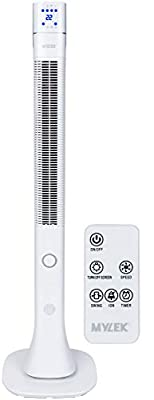 """MYLEK® Oscillating Tower Fan with Remote Control, Ioniser, Timer, Quiet and 3 Cooling Speed Settings, Energy Efficient - White, 48"""""""