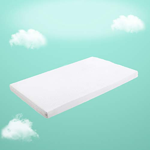 "Crib Mattress Topper, Premium Gel-Infused Memory Foam Crib Mattress Pad with Removable 100% Waterproof Cotton Cover, 52"" x 27"" x 2"""