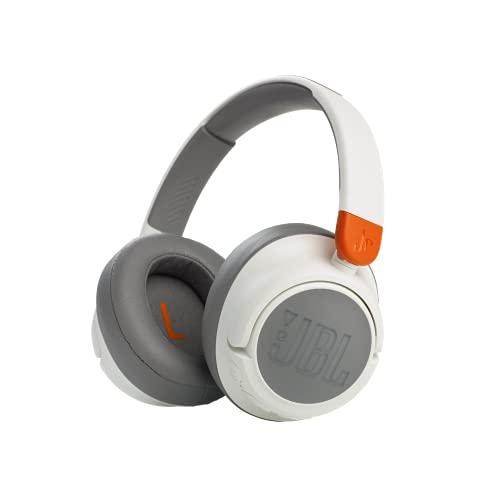 JBL JR460NC Auriculares inalámbricos Over Ear portátiles con Bluetooth y cancelación de ruido para niños, hasta 20 horas de duración y una carga rápida, blanco