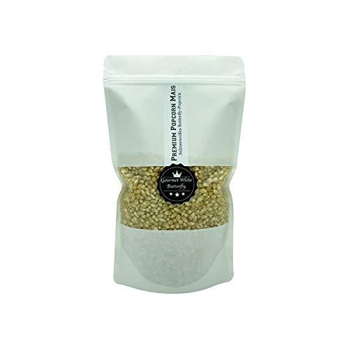 Premium Gourmet White Popcornmais Butterfly 1 KG aus Amerika | Zart Fluffig und wenig Spelzen | Popcorn Kinopopcorn frische Beutel im wieder verschließbarem Beutel GMO Frei