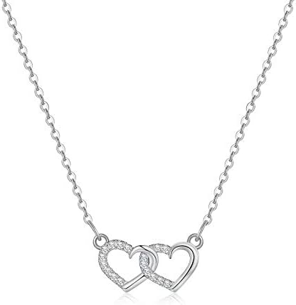 Yoosteel Silver Love Heart Necklaces for Women White Gold Filled Interlocked Heart Necklace product image