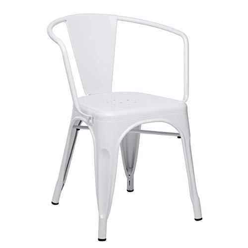 SKLUM Silla con Brazos LIX Acero Brillante Blanco - (Elige Color)