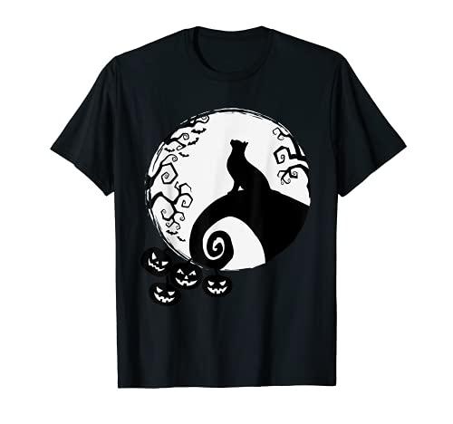 Gato Negro y Calabazas Bruja Luna Halloween Mujeres Hombres Nios Camiseta