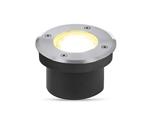 lambado® LED Bodenstrahler flach für Aussen IP67 - Wasserdicht & Befahrbar inkl. 5W Strahler warmweiss dimmbar - Bodeneinbaustrahler/Bodenleuchte rund aus Edelstahl für Terrasse & Garten
